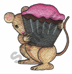 MOUSE WITH CUPCAKE embroidery design