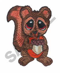 BIG EYED SQUIRREL embroidery design