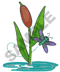 CATTAIL & DRAGONFLY embroidery design