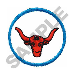 LONGHORN IN CIRCLE embroidery design
