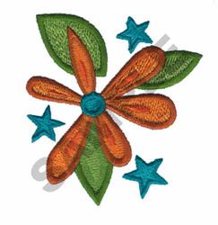 FLOWER W/STARS embroidery design