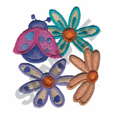 LADY BUG AND FLOWERS embroidery design