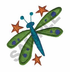 DRAGONFLY & STARS embroidery design