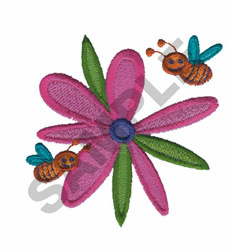 BUMBLE BEES ON FLOWER embroidery design