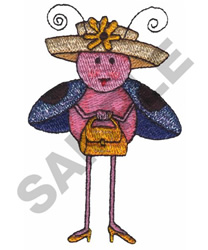 LADYBUG WITH A FLOWER ON HAT embroidery design