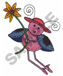 LADYBUG WITH A FLOWER embroidery design