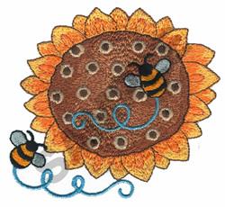 BEE AROUND SUNFLOWER embroidery design