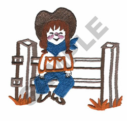 COWGIRL SITTING ON THE FENCE embroidery design