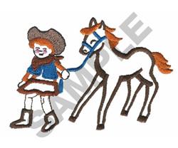 COWGIRL WALKING WITH HORSE embroidery design
