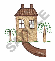 HOUSE WITH TREES embroidery design