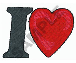 LETTER I WITH A HEART embroidery design