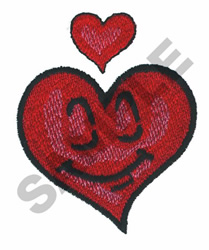 HAPPY FACE HEART embroidery design