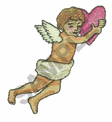 CUPID WITH HEART embroidery design