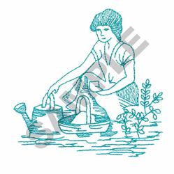 WOMAN GETTING WATER FROM RIVER embroidery design