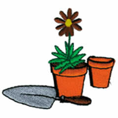FLOWER POTS AND SHOVEL embroidery design