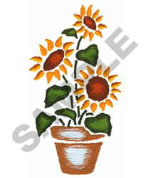 POTTED SUNFLOWERS embroidery design