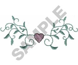 SINGLE HEART VINE embroidery design