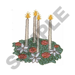 CHRISTMAS CANDLE SPRAY embroidery design
