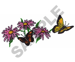 BUTTERFLIES AND FLOWERS embroidery design