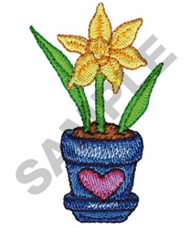 Potted Floral Plant embroidery design