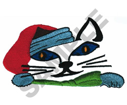 CHRISTMAS CAT POCKET TOPPER embroidery design