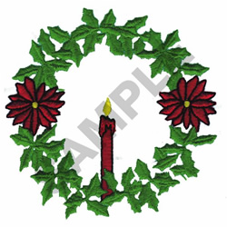 CHRISTMAS WREATH W/ CANDLE embroidery design