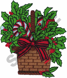 BASKET OF HOLLY embroidery design