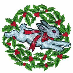 CHRISTMAS BUNNY WREATH embroidery design