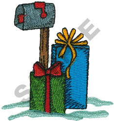 MAILBOX WITH PRESENTS embroidery design