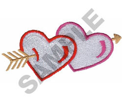 HEARTS WITH ARROW embroidery design