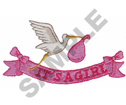 'IT'S A GIRL' STORK AND RIBBON embroidery design