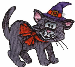 CAT WITH WITCH HAT embroidery design