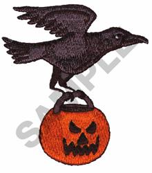 CROW W/JACK-O-LANTERN embroidery design