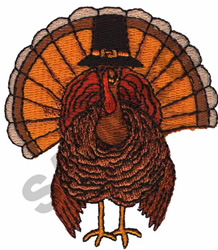 TURKEY WITH PILGRIM HAT embroidery design