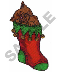 CAT IN CHRISTMAS STOCKING embroidery design