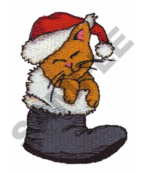 CHRISTMAS CAT IN SANTA BOOT embroidery design