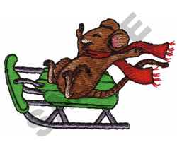 MOUSE AND SLEIGH embroidery design