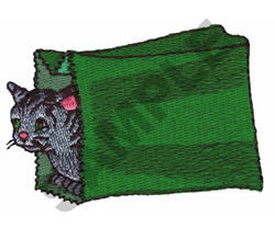CAT IN GIFT SACK embroidery design