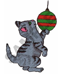 CAT WITH CHRISTMAS BALL embroidery design