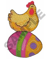 HEN SITTING ON EASTER EGG embroidery design