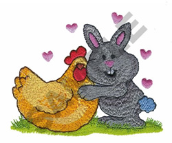 BUNNY WITH CHICKEN embroidery design