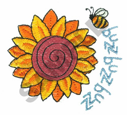 SUNFLOWER WITH A BUZZING BEE embroidery design