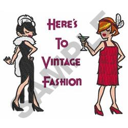 HERES TO VINTAGE FASHION embroidery design