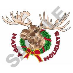 HAPPY HOLIDAYS MOOSE embroidery design