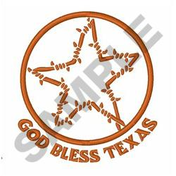GOD BLESS TEXAS embroidery design