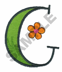 LETTER G WITH FLOWER embroidery design