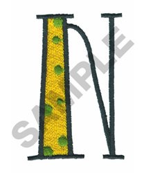 BRIGHT ALPHA N embroidery design