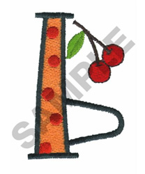 BRIGHT ALPHA B WITH CHERRIES embroidery design