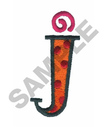 BRIGHT ALPHA LOWER CASE J embroidery design