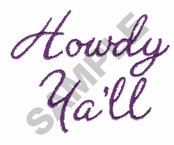 HOWDY YALL embroidery design